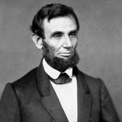 A black and white image of Abraham Lincoln