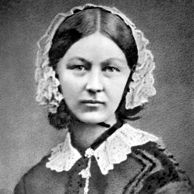 A black and white portrait image of Florence Nightingale