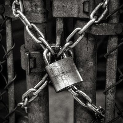 A chain and locked padlock