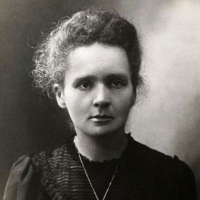 A black and white portrait image of Marie Curie