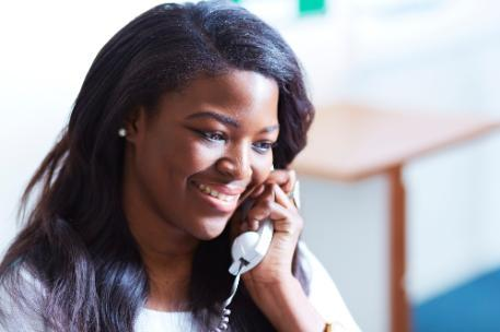 A careers officer on the telephone