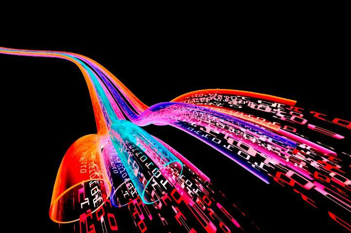 colourful image of data traveling through a cable style