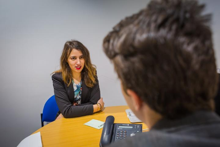 Two people in a businesss interview
