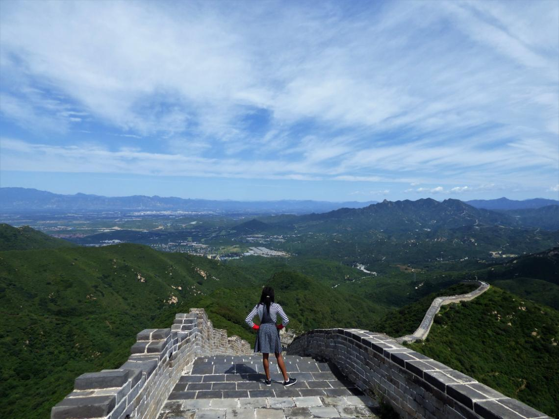 A photo of University of Bradford student Caroline Moseka at the Great Wall of China