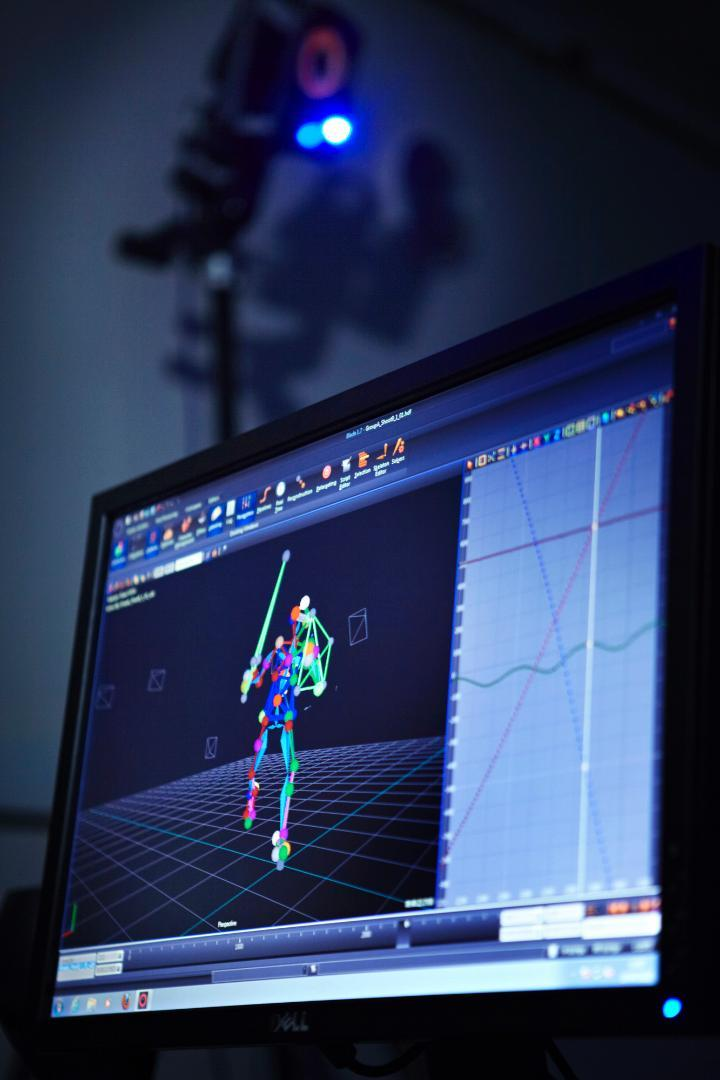 picture of someone in motion capture on a computer screen