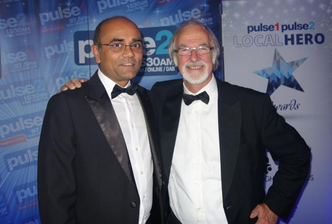 Professor Ajay Mahajan with Professor David Sharpe at the Pulse Local hero awards