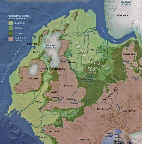 Map of europe in the doggerland period