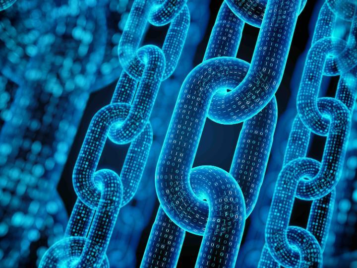 Conceptual image depicting blockchain encryption