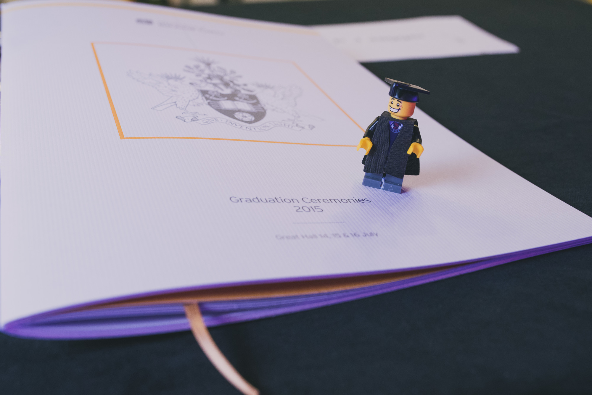 2015 Graduation booklet with lego figurine