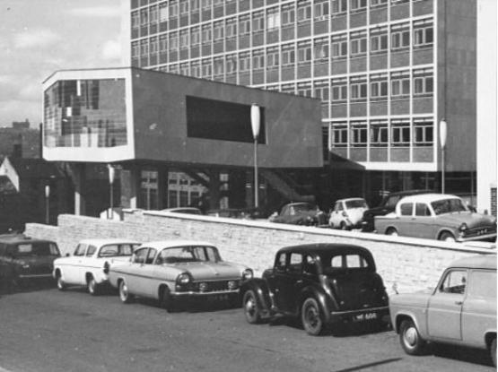 Archive black and white image of the Richmond Building circa 1965