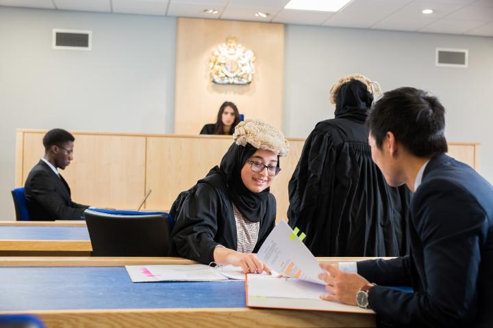 Students in the University's Mock Courtroom