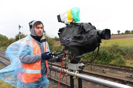 Television Production student Harvey, filming steam trains in inclement weather