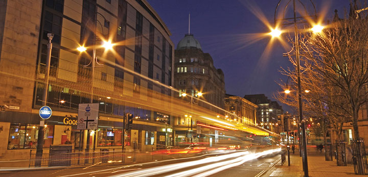 Long exposure photography of Bradford at night