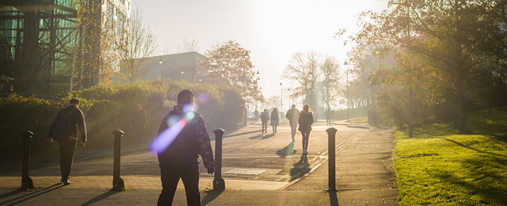 Students walking on the University of Bradford campus