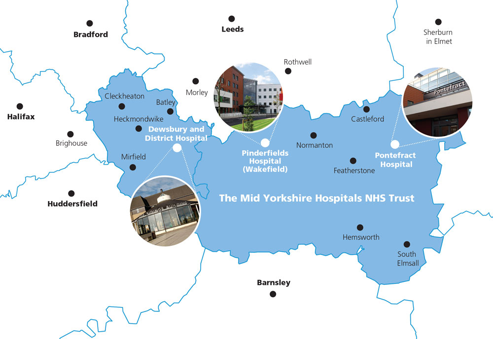A map showing the 3 hospitals where the Dewsbury Adult Nursing course can take place in the Dewsbury region